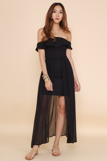 SLEVENE OFF-SHOULDER DRESS (BLACK) image