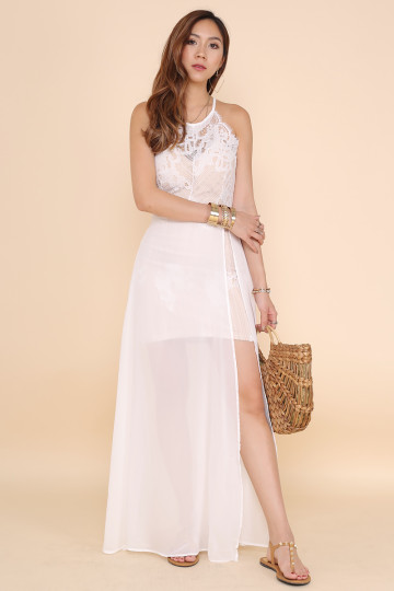 LACE INDULGING DRESS (WHITE) image