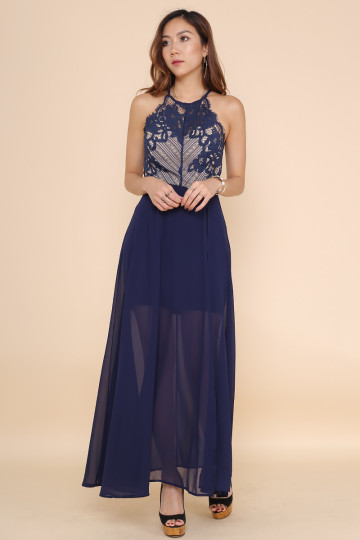 LACE INDULGING DRESS (NAVY BLUE) image