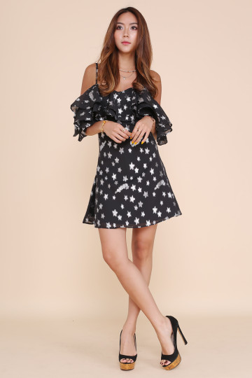 ALL THAT STAR DRESS (BLACK WITH SILVER STARS)(BACKORDER) image