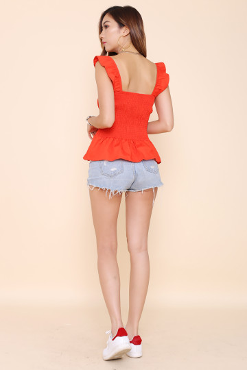 TASHA SMOCKED 2-WAY TOP (RED) image
