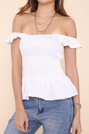 TASHA SMOCKED 2-WAY TOP (WHITE) image