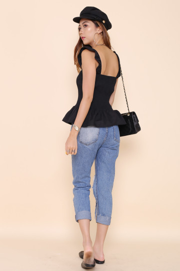 TASHA SMOCKED 2-WAY TOP (BLACK)(BACKORDER) image