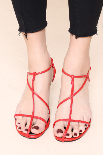 MAIN GIRL STRAPPY HEELED SANDALS (RED) image