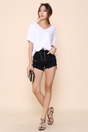 LACE IT BLACK RIPPED SHORTS (BACKORDER) image