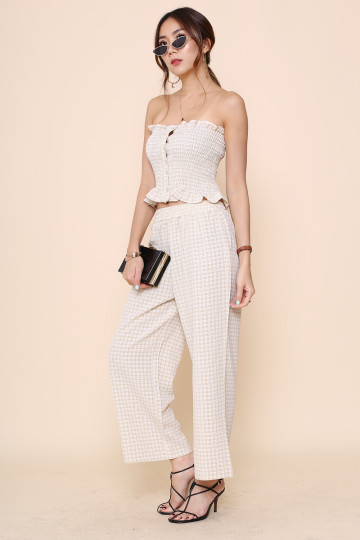 CHECKMATE 2-PIECE PANTS SET (CREAM) image