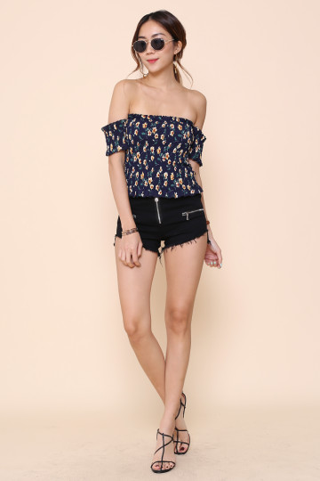 PARC FLORAL DE PARIS OFF-SHOULDER (NAVY) image