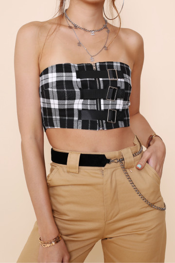 BUCKLE ME UP PLAID BANDEAU image