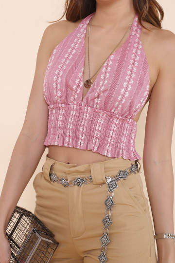 MIKA FLORAL HALTER TOP (BLUSH RED) image