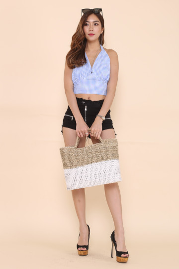 GINGHAM HALTER TOP (BABY BLUE) image