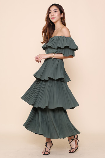 ZOOELLA PLEATED DRESS (FOREST GREEN) (PREMIUM) image