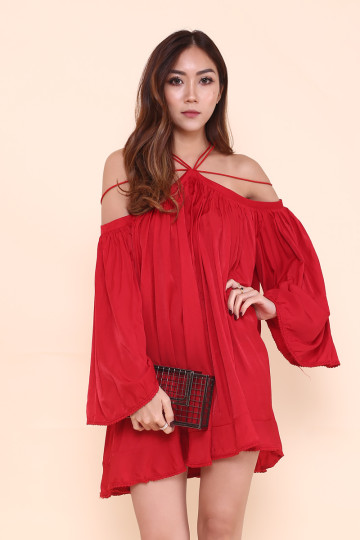 STELLA WEB HALTER DRESS (SANGRIA RED)(PREMIUM) image
