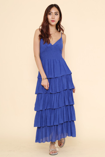 DONNA TIERED DRESS (ROYAL BLUE) image