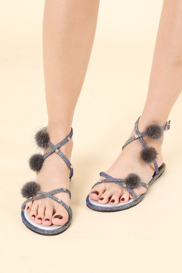 PHILLIE POM POM FURRY SANDALS (GREY)(PREORDER) image
