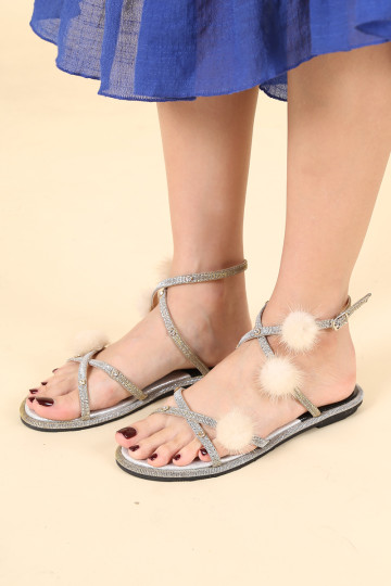 PHILLIE POM POM FURRY SANDALS (SILVER) (PREORDER) image