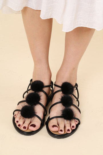 SAHARA PUFF BALL SANDALS (PREORDER) image