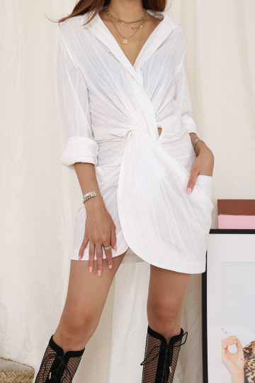 THELMA TWIST FRONT SHIRT DRESS (PREMIUM)(BACKORDER) image