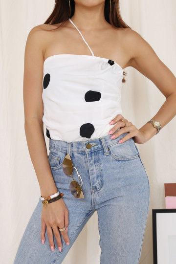 PANAMA DOTTED TOP (WHITE) image