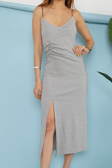 ANISE MIDI COTTON DRESS (GREY) image