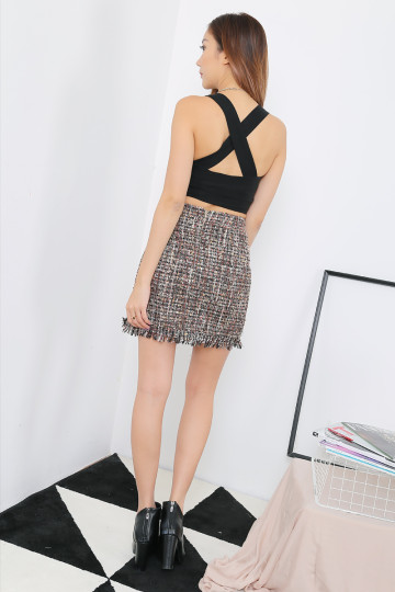 COCO TWEED SKIRT (BROWN)(PREMIUM)(BACKORDER) image