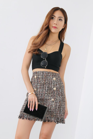COCO TWEED SKIRT (BROWN)(PREMIUM) image