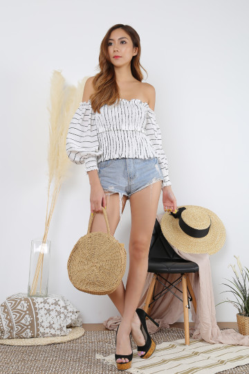 LOWA OFF-SHOULDER STRIPE TOP image