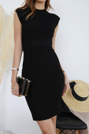 AMBY RIBBED WORK DRESS (BLACK)(PREMIUM)(BACKORDER) image