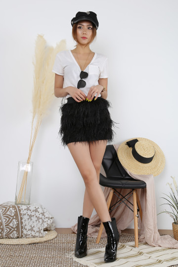 ESSEL FEATHER SKIRT (BLACK)(PREMIUM)(BACKORDER) image