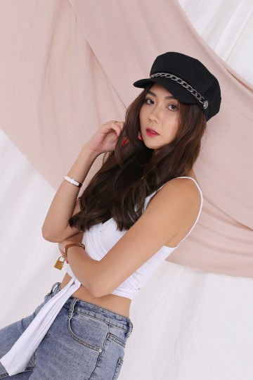 MAYA CHAINED BAKER BOY HAT (BLACK)(BACKORDER) image