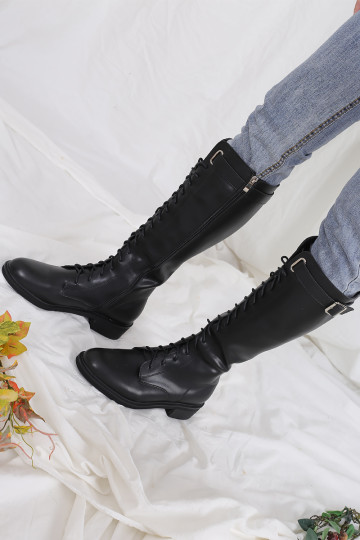 BASIC BUCKLE COMBAT HIGH BOOTS (PREMIUM)(PREORDER) image