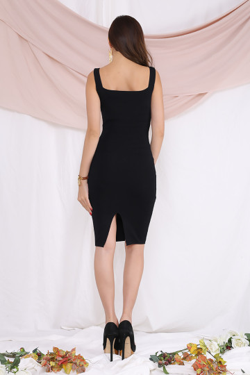 MELL SQUARE NECK BANDAGE DRESS (BLACK)(PREMIUM)(BACKORDER) image