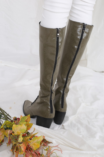 FAUX PYTHON CELINE HIGH BOOTS (OLIVE GREEN)(PREMIUM)(PREORDER) image