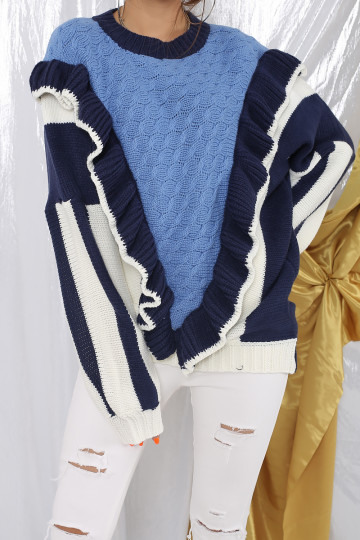LORRAH RUFFLED CABLE KNIT SWEATER (BLUE)(PREMIUM) image