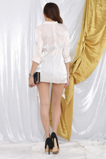 SATIN CREAM CROSSOVER SHIRT (PREMIUM) image