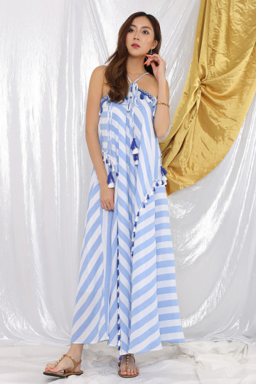 TAHITI HALTER DRESS (BLUE STRIPES)(PREMIUM)(BACKORDER) image