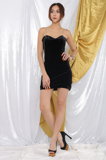TIARE DIAMANTE VELVET DRESS (BLACK)(PREMIUM) image