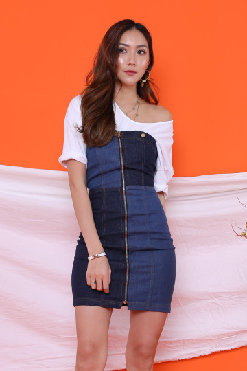 DENIM PATCHWORK DRESS (PREMIUM)(BACKORDER) image