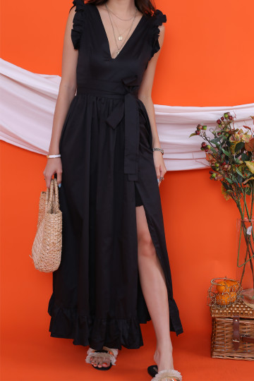PANAMA V-NECK MAXI DRESS (BLACK)(PREMIUM)(BACKORDER) image