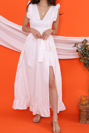 PANAMA V-NECK MAXI DRESS (WHITE)(PREMIUM)(BACKORDER) image