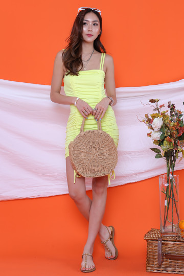 LESLEY RUCHING NEON YELLOW DRESS (BACKORDER) image