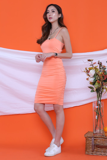 KACEY RUCHING DRESS (NEON ORANGE)(BACKORDER) image