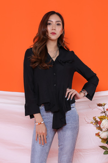 VIVY SOFT PLEATED SHIRT (BLACK) image