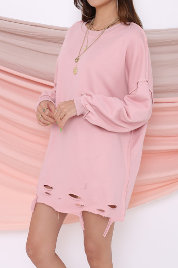 JETSET RIPPED SWEATER (DUSTY PINK) image
