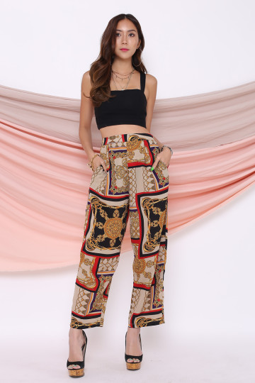 BAROQUE PRINTED CHIFFON PANTS (RED) image