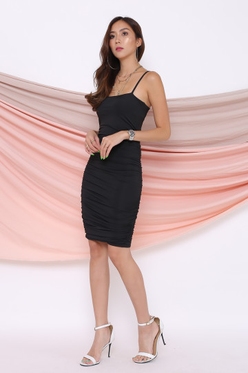 KACEY RUCHING DRESS (BLACK) image