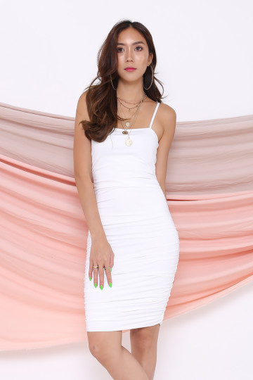 KACEY RUCHING DRESS (WHITE) image