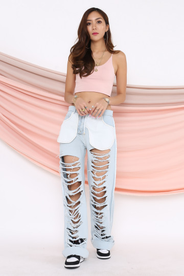 POCKETS OUT DISTRESSED JEANS image