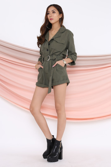 UTILITY POCKET ROMPER (ARMY GREEN)(PREMIUM)(BACKORDER) image