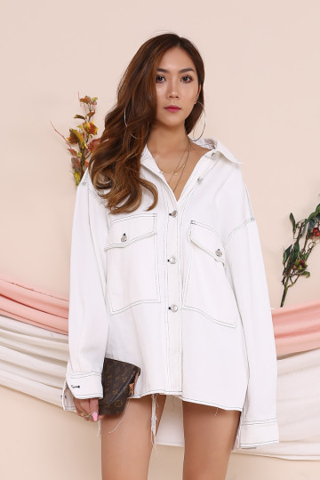 ROENN OVERSIZED THREADED SHIRT (WHITE)(PREMIUM)(BACKORDER) image