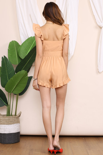 MARY JANE BUTTON UP ROMPER (DESATURATED ORANGE) image